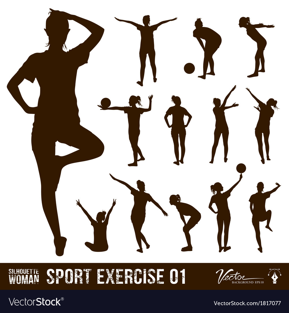 Silhouette people exercise design background vector | Price: 1 Credit (USD $1)