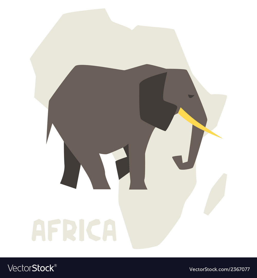 Simple of elephant on background africa map vector | Price: 1 Credit (USD $1)