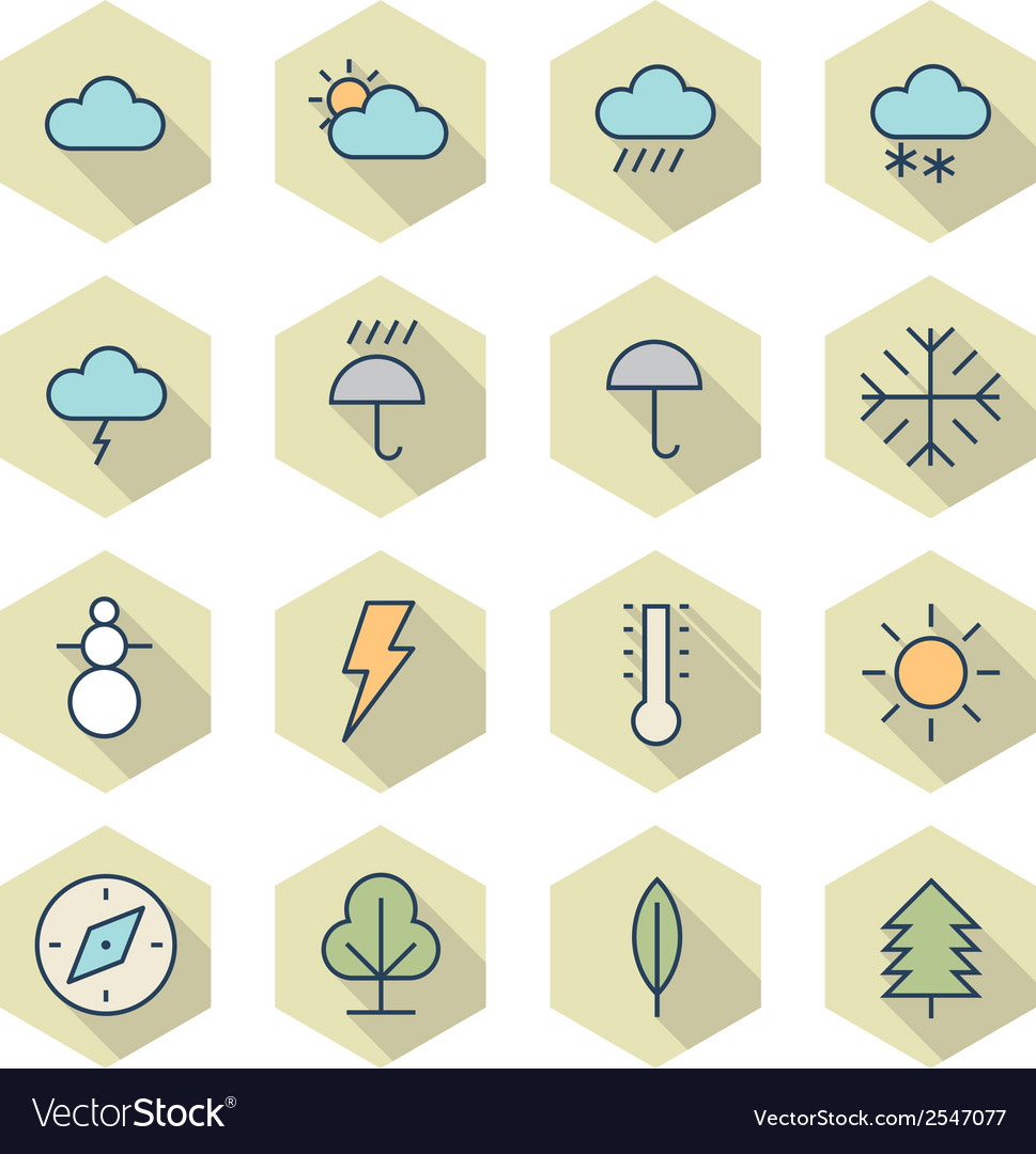 Thin line icons for weather and nature vector