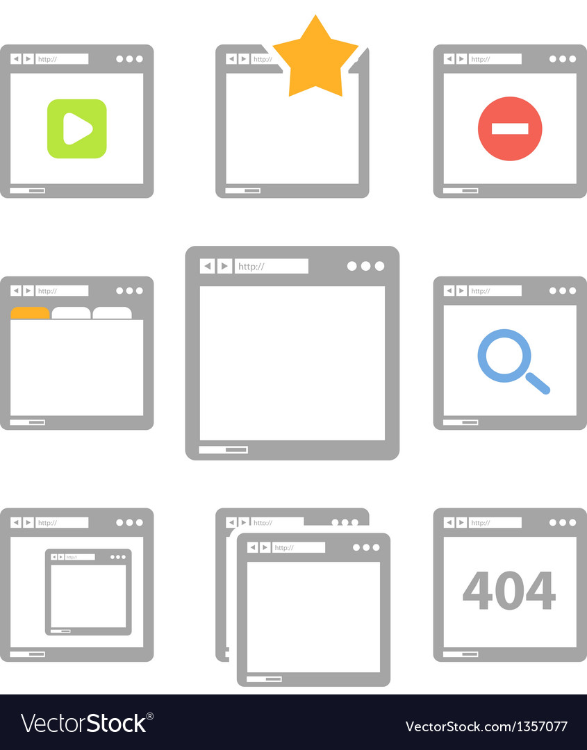 Web browser icons isolated on white vector | Price: 1 Credit (USD $1)