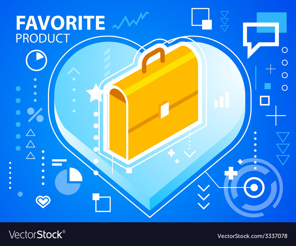Bright heart and work suitcase on blue backg vector | Price: 3 Credit (USD $3)