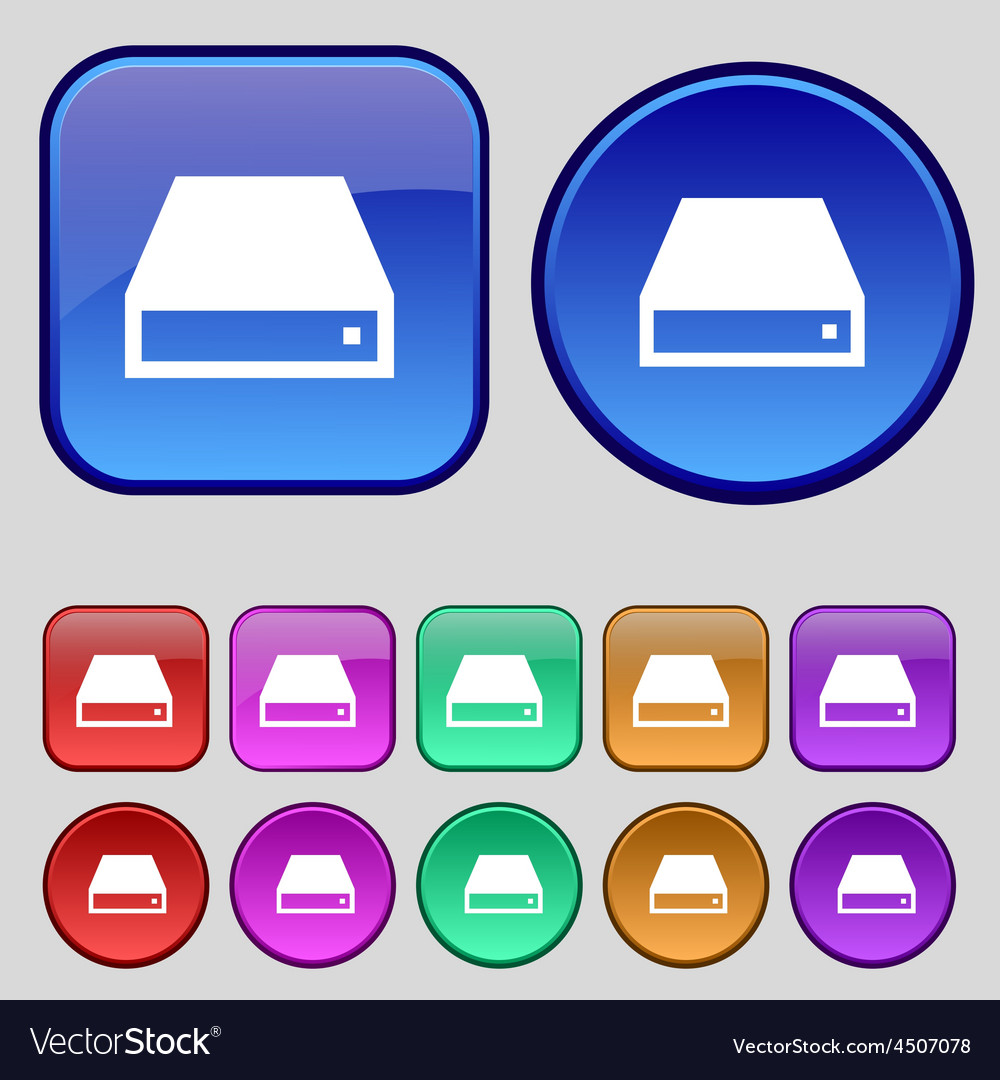 Cd-rom icon sign a set of twelve vintage buttons vector | Price: 1 Credit (USD $1)