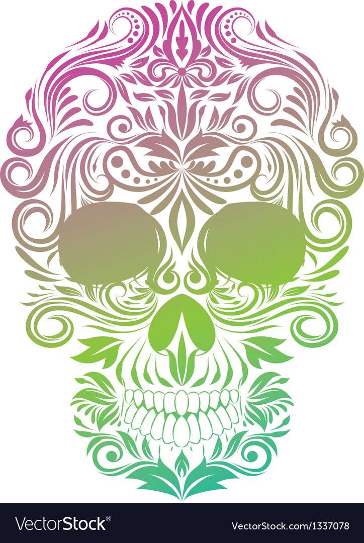 Floral ornament human skull vector | Price: 1 Credit (USD $1)