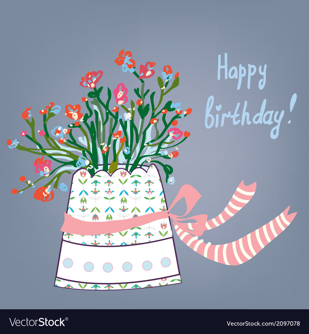 Greeting birthday card with flowers pot vector | Price: 1 Credit (USD $1)