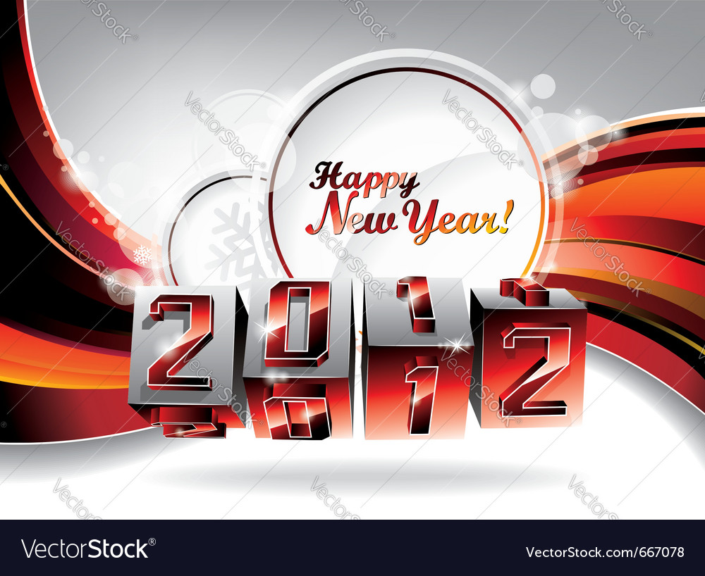 Happy new year 2012 design with swirl cubes vector | Price: 3 Credit (USD $3)