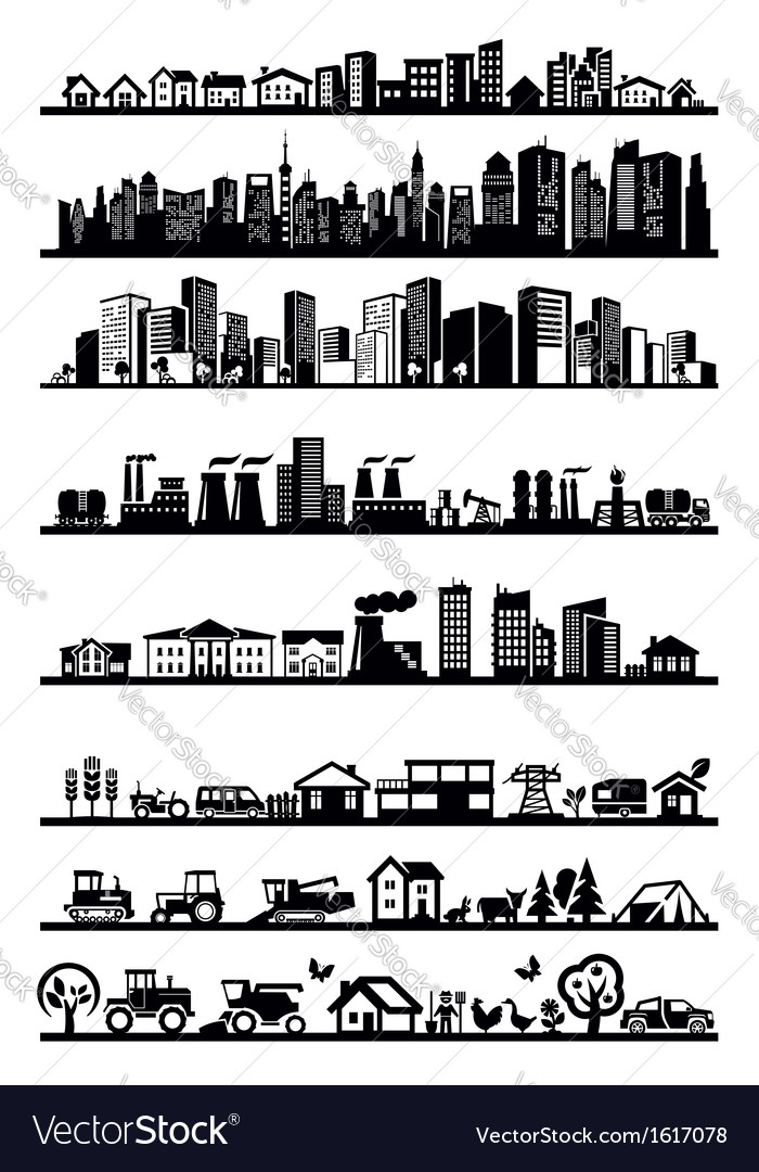Houses and city icons vector | Price: 1 Credit (USD $1)