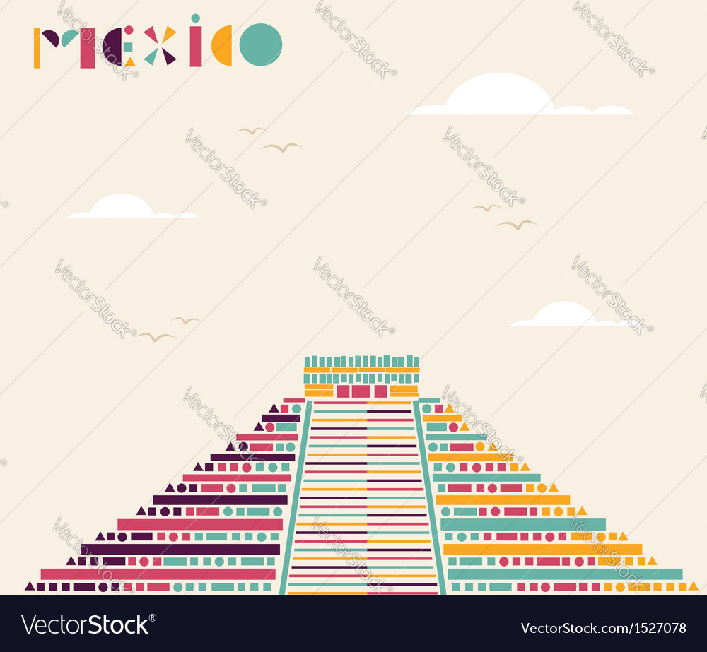 Mexico pyramid travel background vector | Price: 1 Credit (USD $1)