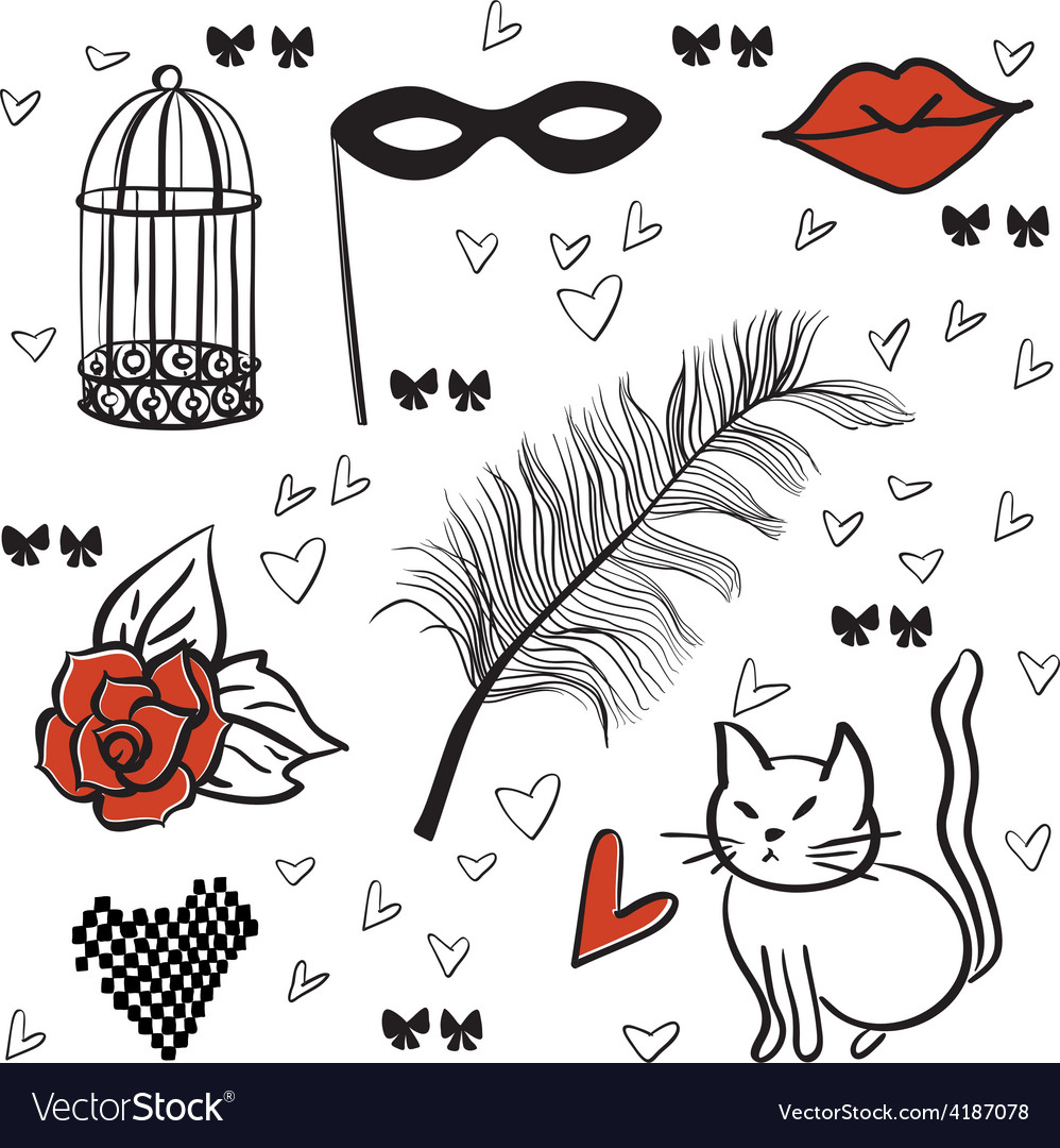 Seamless romantic elements pattern vector   Price: 1 Credit (USD $1)