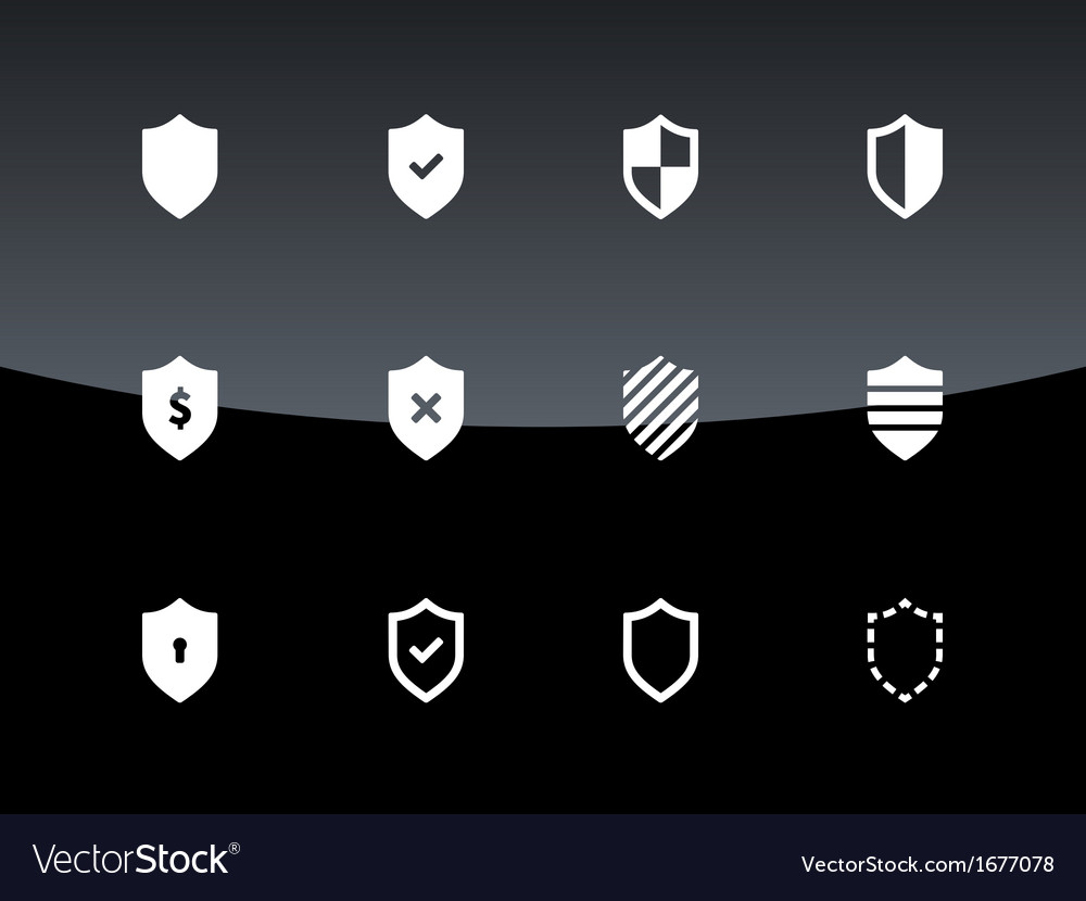 Shield icons on black background vector | Price: 1 Credit (USD $1)