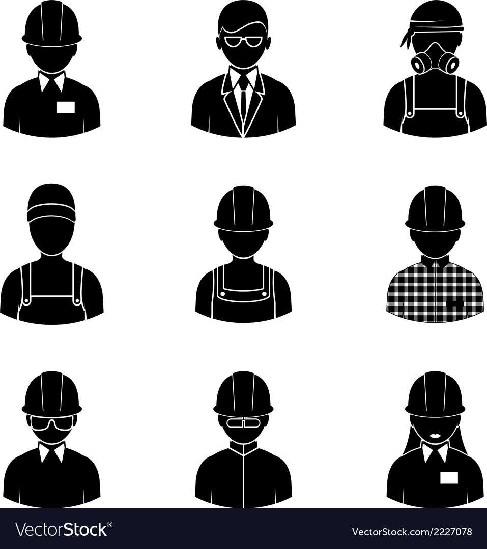 Workers silhouettes icons vector | Price: 1 Credit (USD $1)