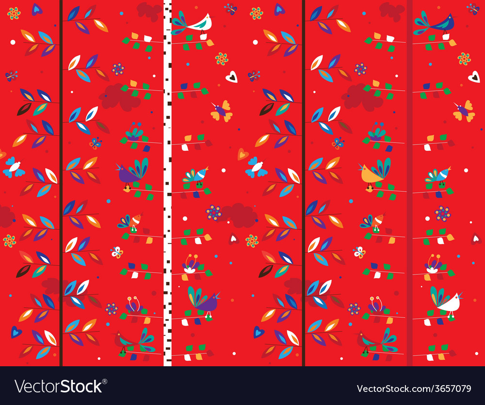 Bird and trees seamless pattern vector | Price: 1 Credit (USD $1)