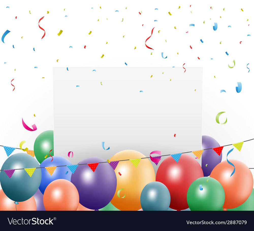Birthday celebration design with balloon and confe vector | Price: 1 Credit (USD $1)
