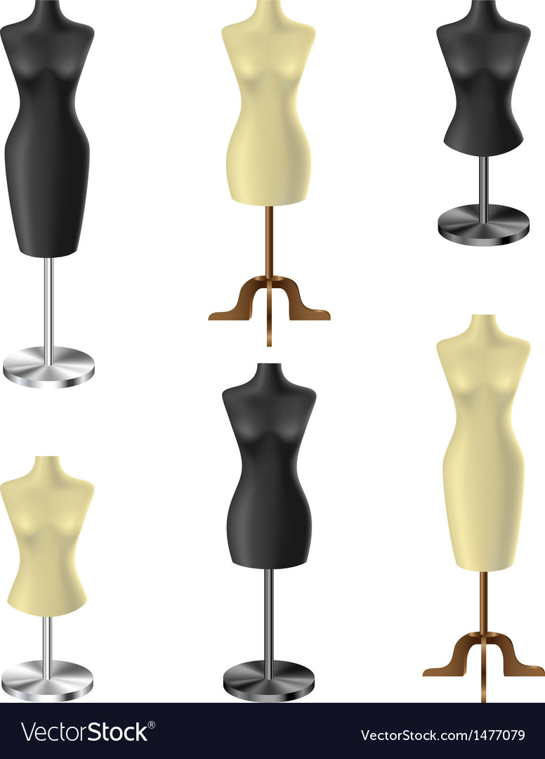 Black and white mannequin set vector | Price: 1 Credit (USD $1)