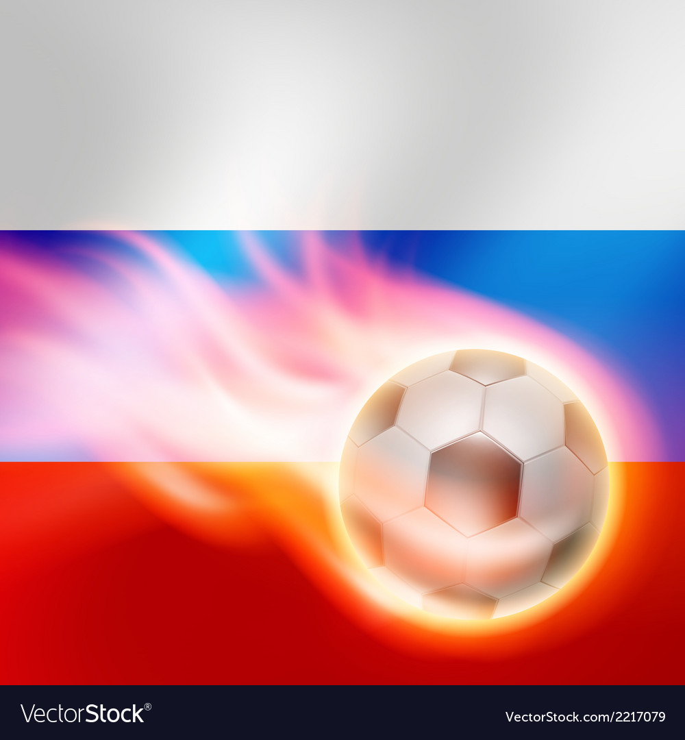 Burning football on russia flag background vector | Price: 1 Credit (USD $1)