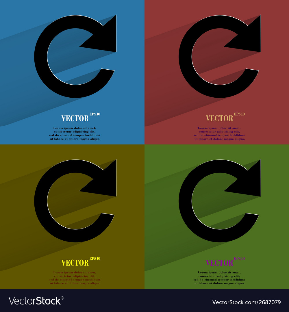 Color set arrow update flat modern web button with vector | Price: 1 Credit (USD $1)