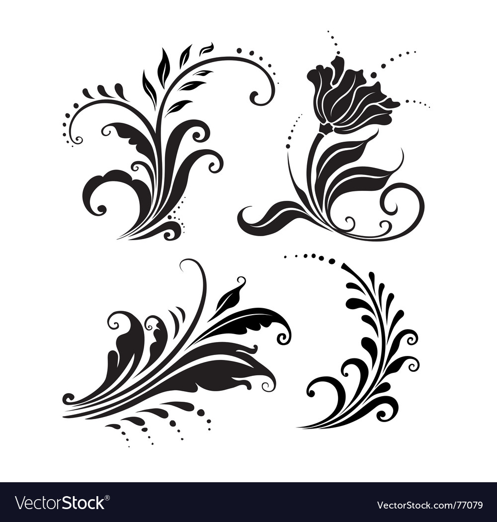 Floral elements set vector | Price: 1 Credit (USD $1)