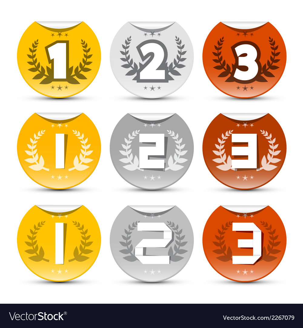 Gold silver bronze labels set vector | Price: 1 Credit (USD $1)