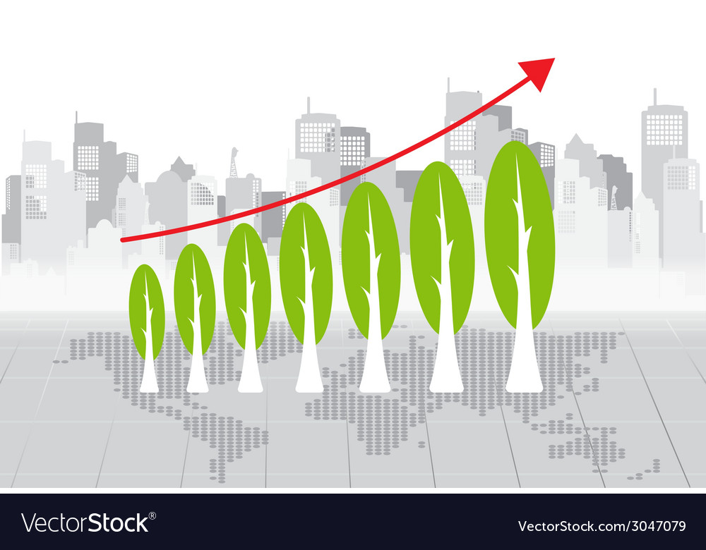 Green economy concept graph of growing vector | Price: 1 Credit (USD $1)