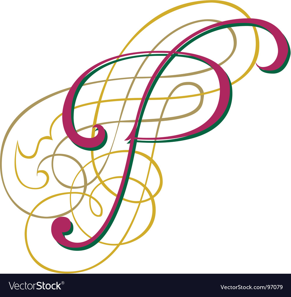 Script letter p vector | Price: 1 Credit (USD $1)