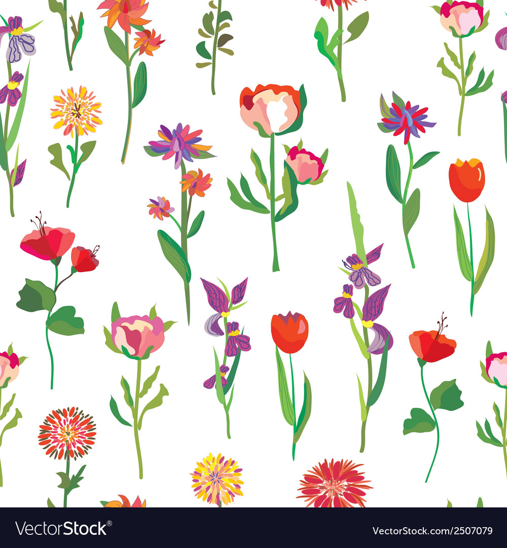 Seamless flowers pattern for garden vector | Price: 1 Credit (USD $1)