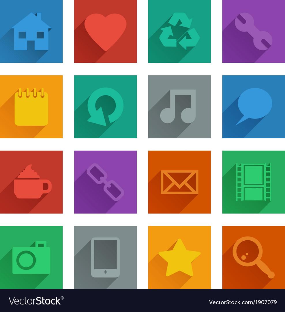 Square media icons set 1 vector | Price: 1 Credit (USD $1)
