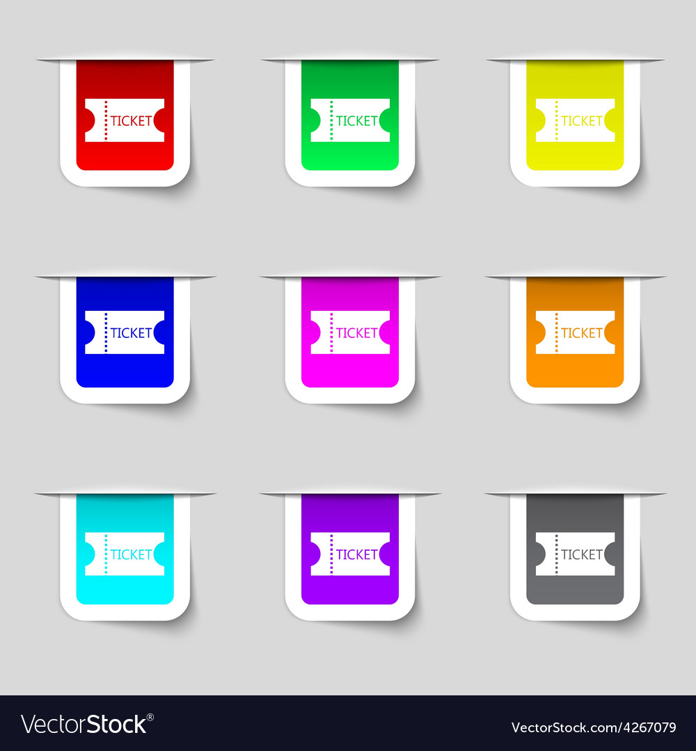Ticket icon sign set of multicolored modern labels vector | Price: 1 Credit (USD $1)