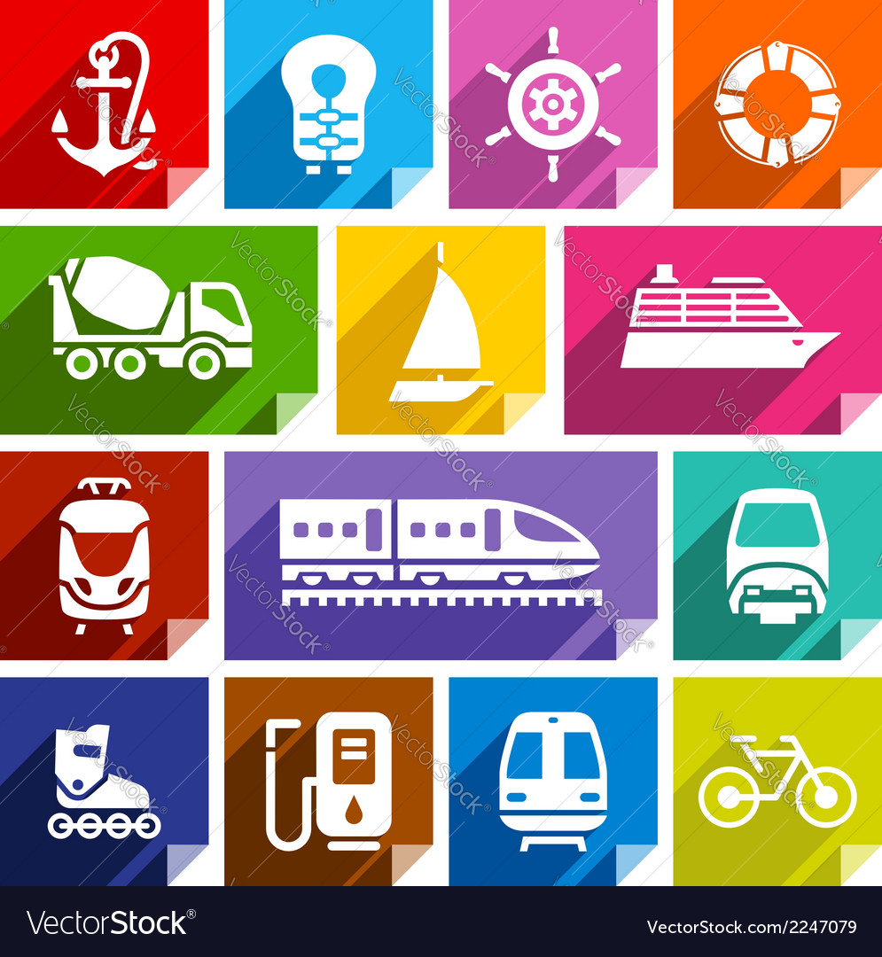 Transport flat icon bright color-01 vector | Price: 1 Credit (USD $1)