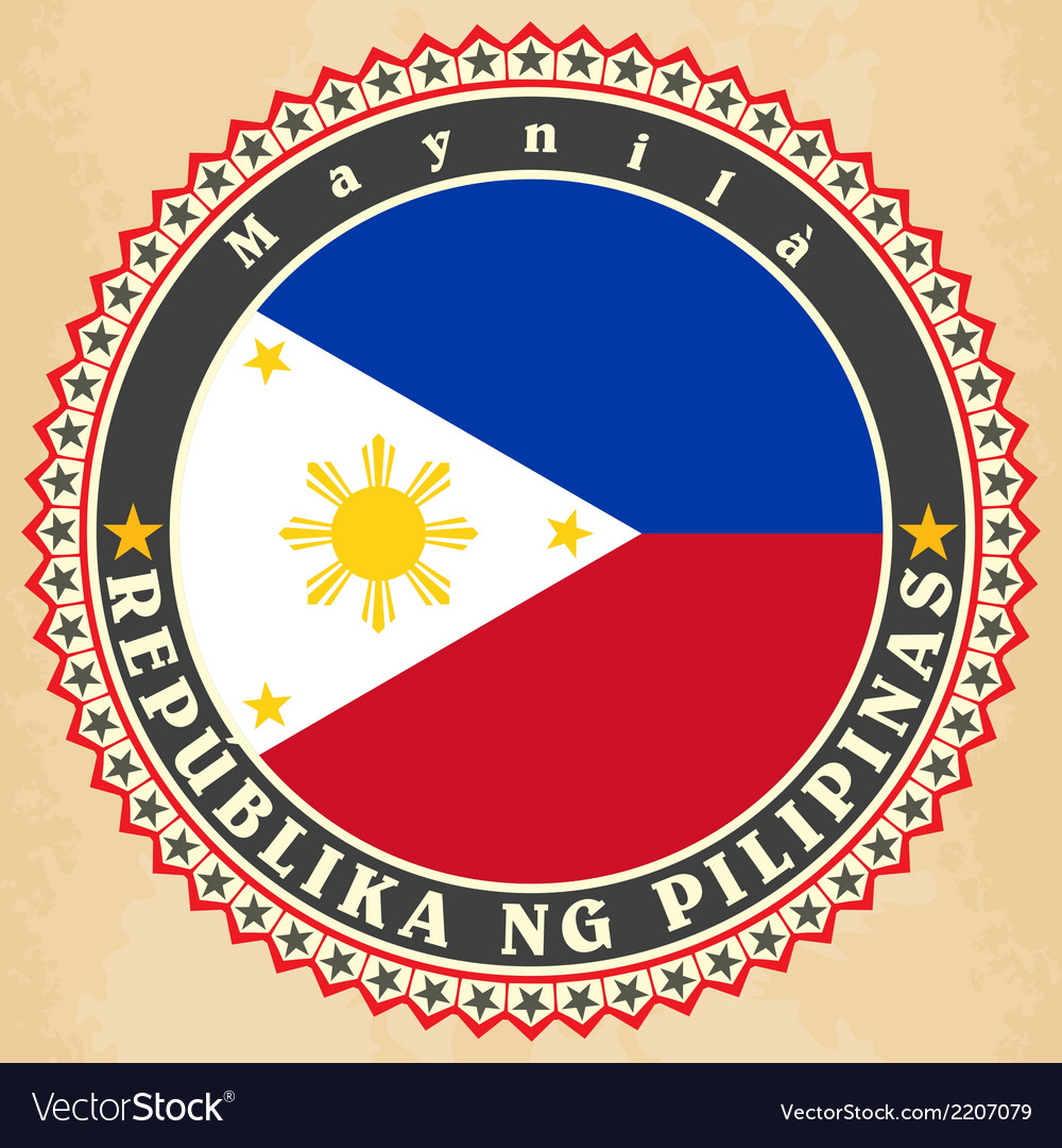 Vintage label cards of philippines flag vector | Price: 1 Credit (USD $1)