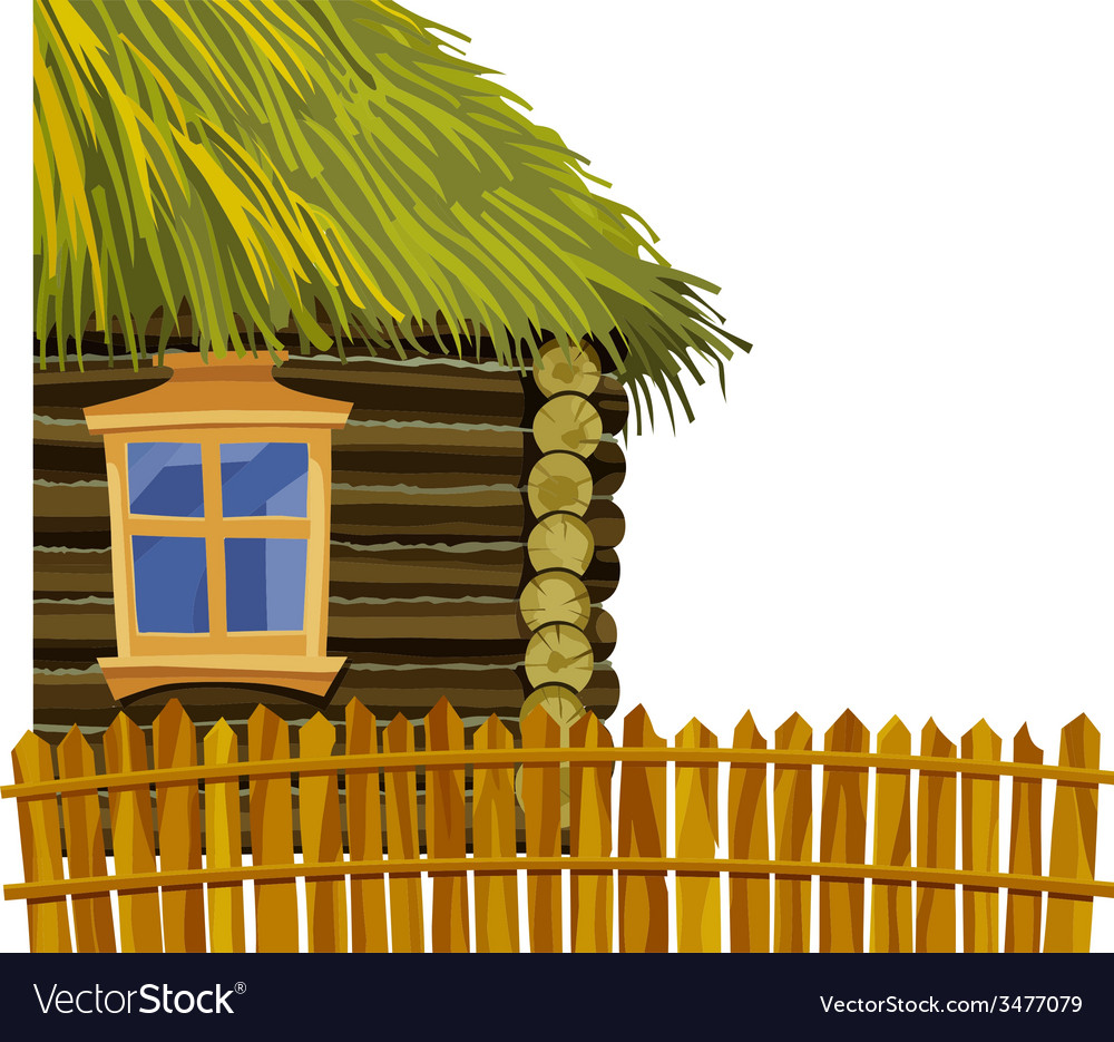 Wooden house with thatched roof and fence vector | Price: 1 Credit (USD $1)