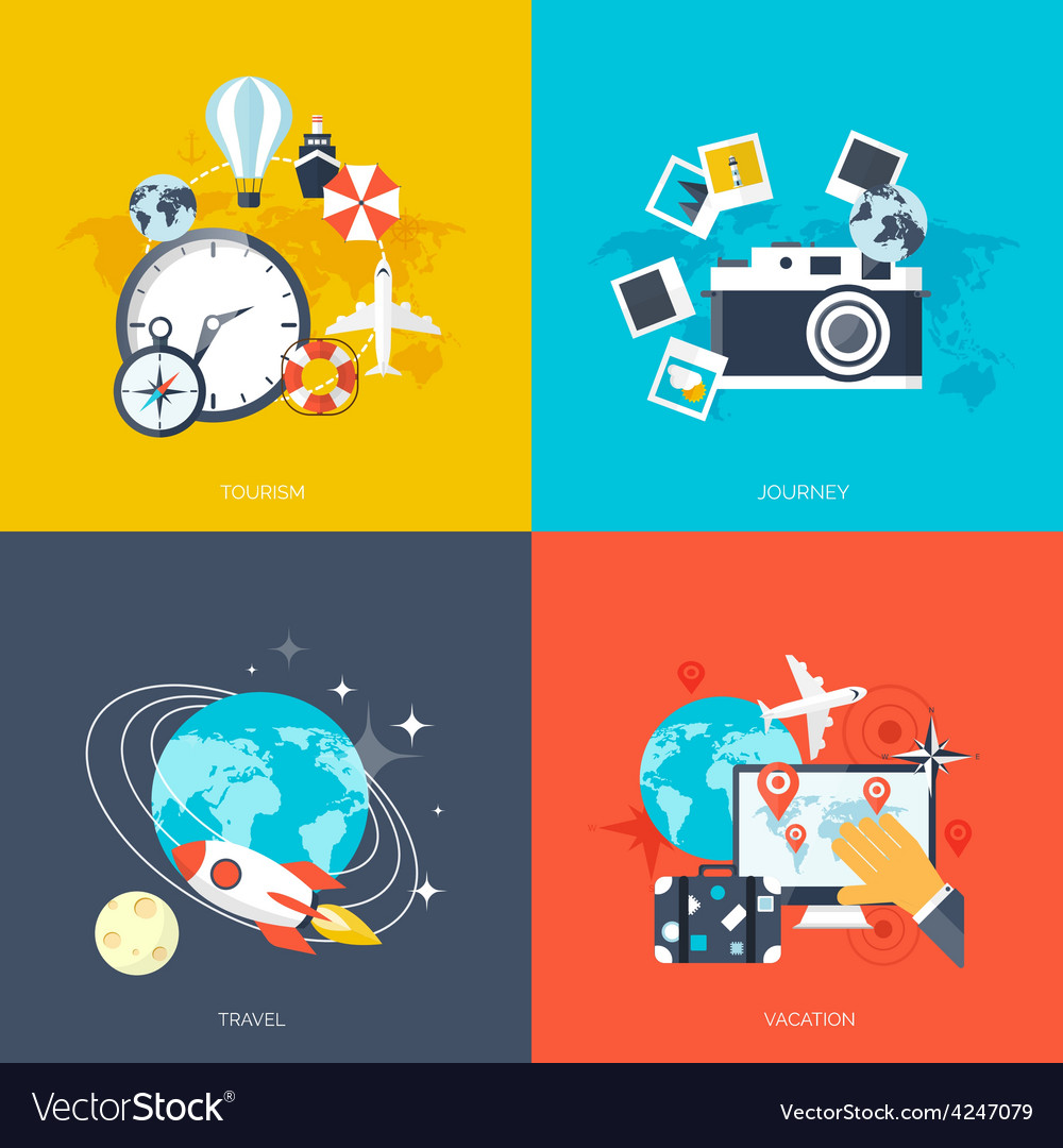 World travel concept backgrounds set flat icons vector | Price: 1 Credit (USD $1)