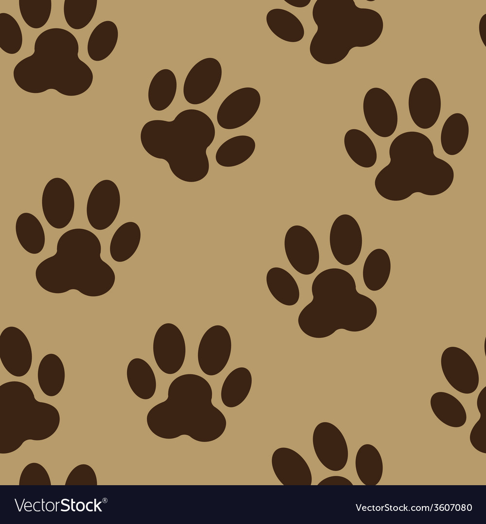 Animal paw seamless pattern background vector | Price: 1 Credit (USD $1)
