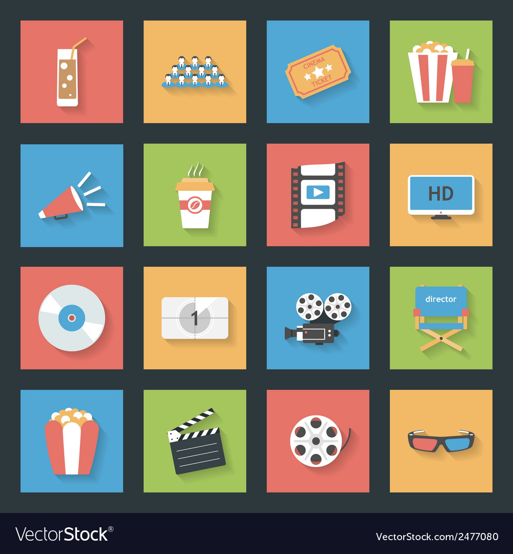 Cinema flat icons set vector | Price: 1 Credit (USD $1)