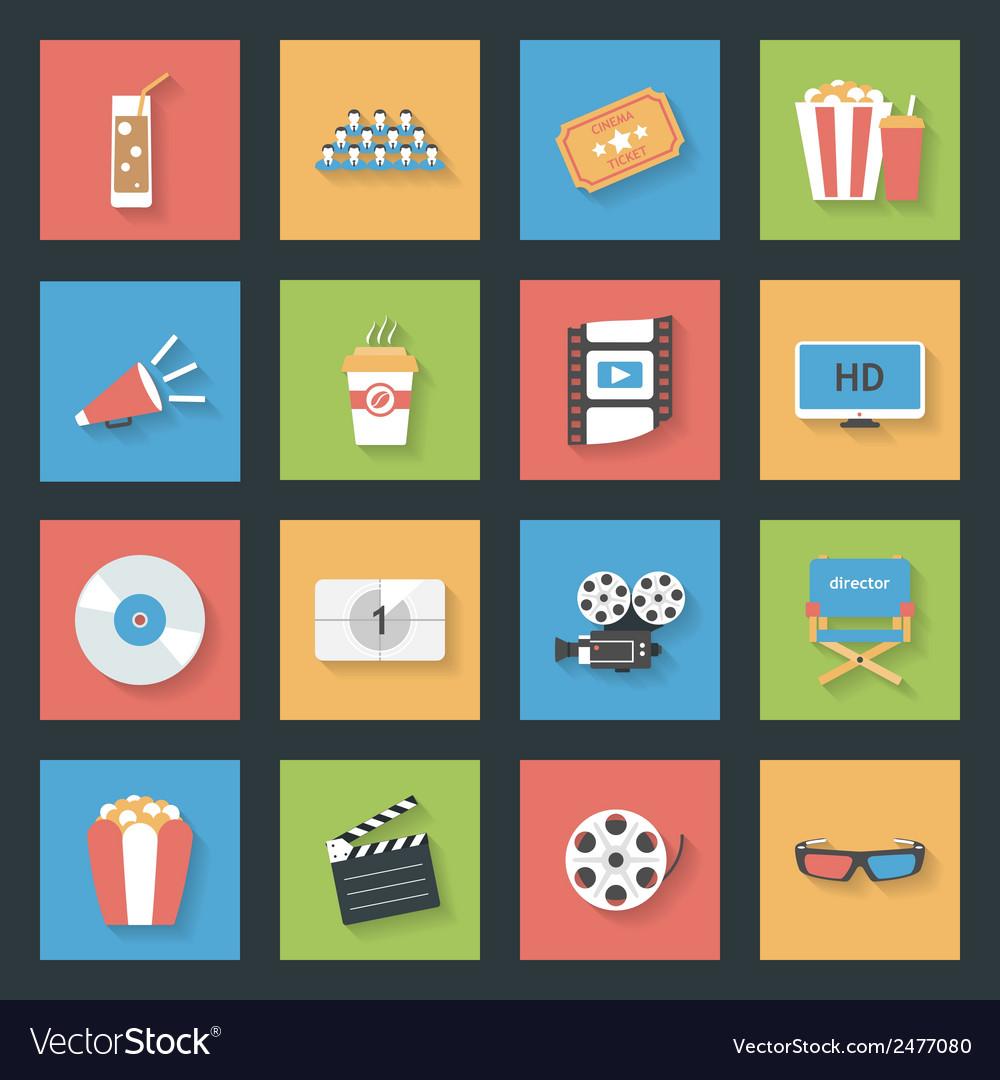 Cinema flat icons set vector   Price: 1 Credit (USD $1)