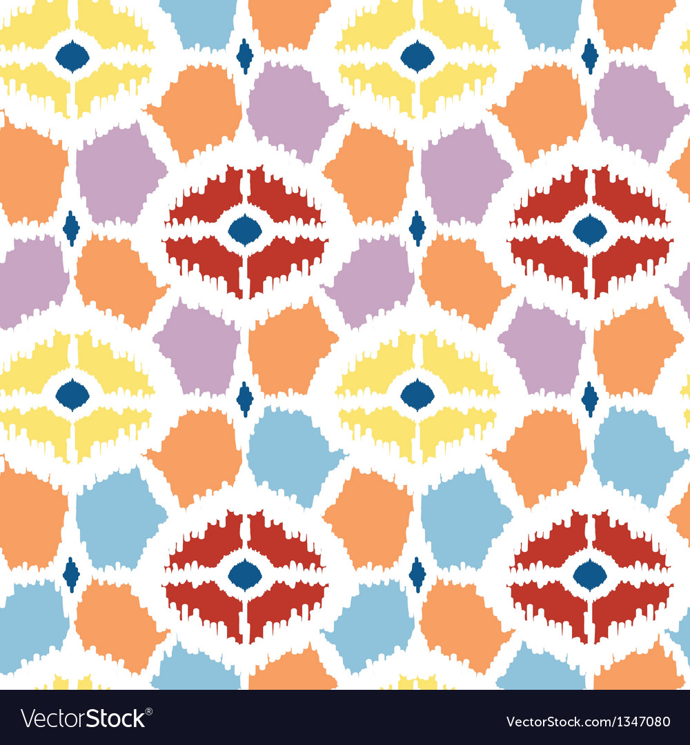 Colorful diamonds ikat geometric seamless pattern vector | Price: 1 Credit (USD $1)