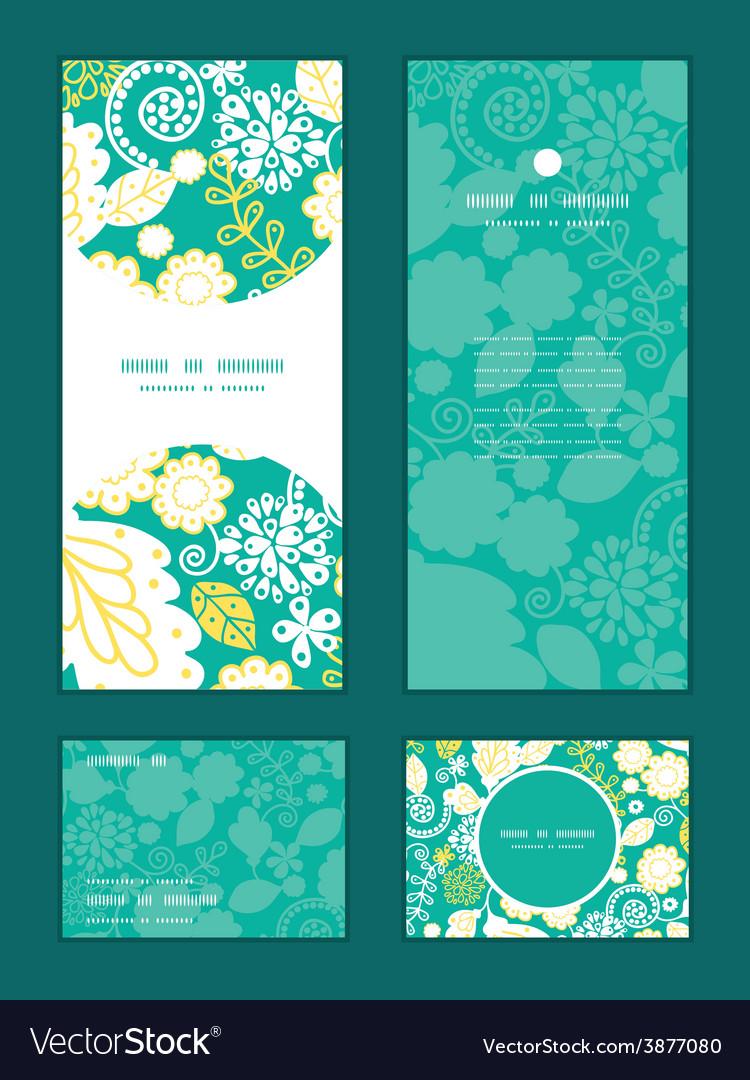Emerald flowerals vertical frame pattern vector | Price: 1 Credit (USD $1)