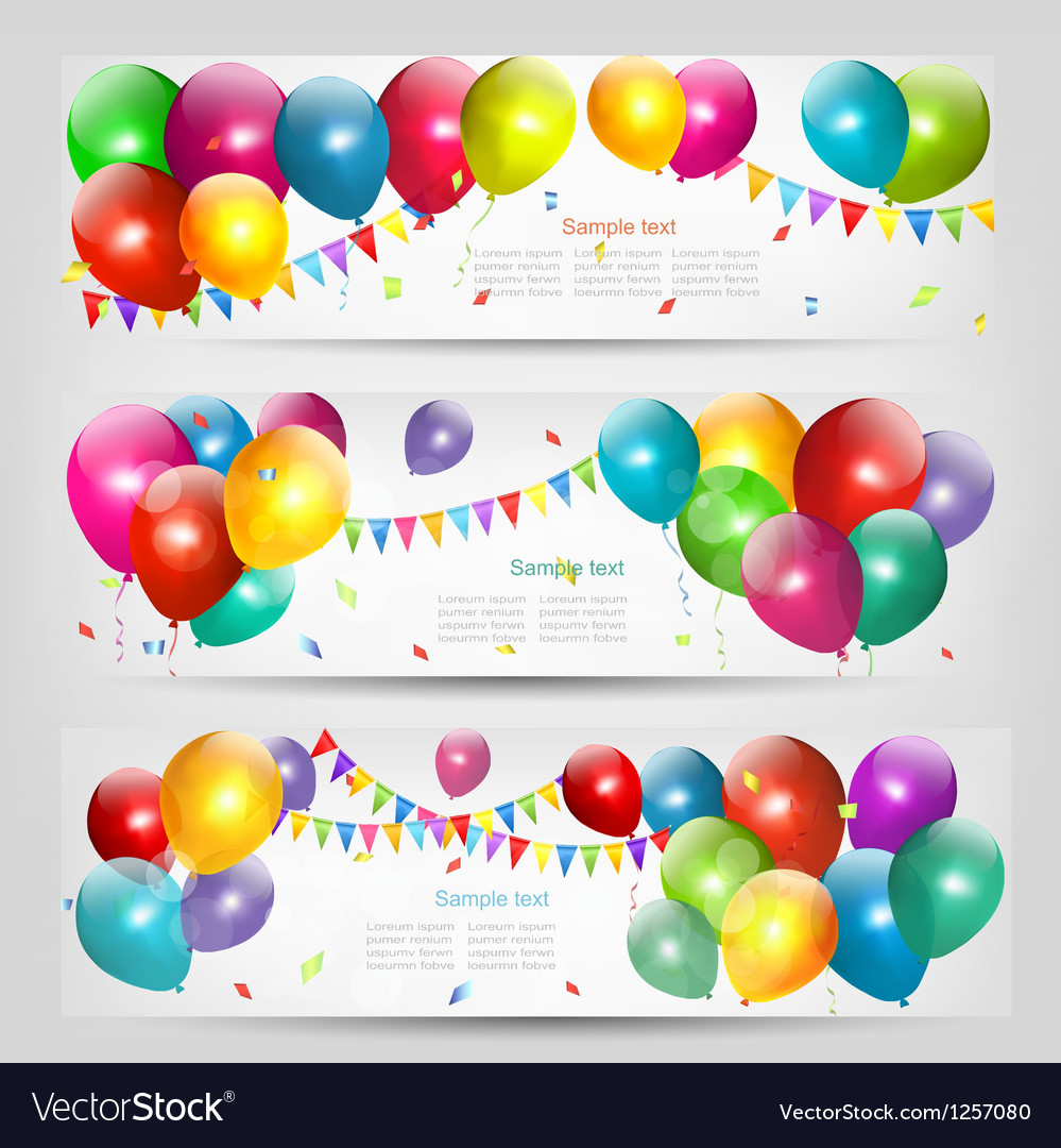 Holiday banners with colorful balloons vector | Price: 1 Credit (USD $1)