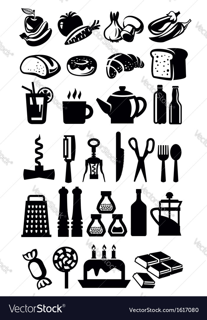 Kitchen icons vector | Price: 1 Credit (USD $1)