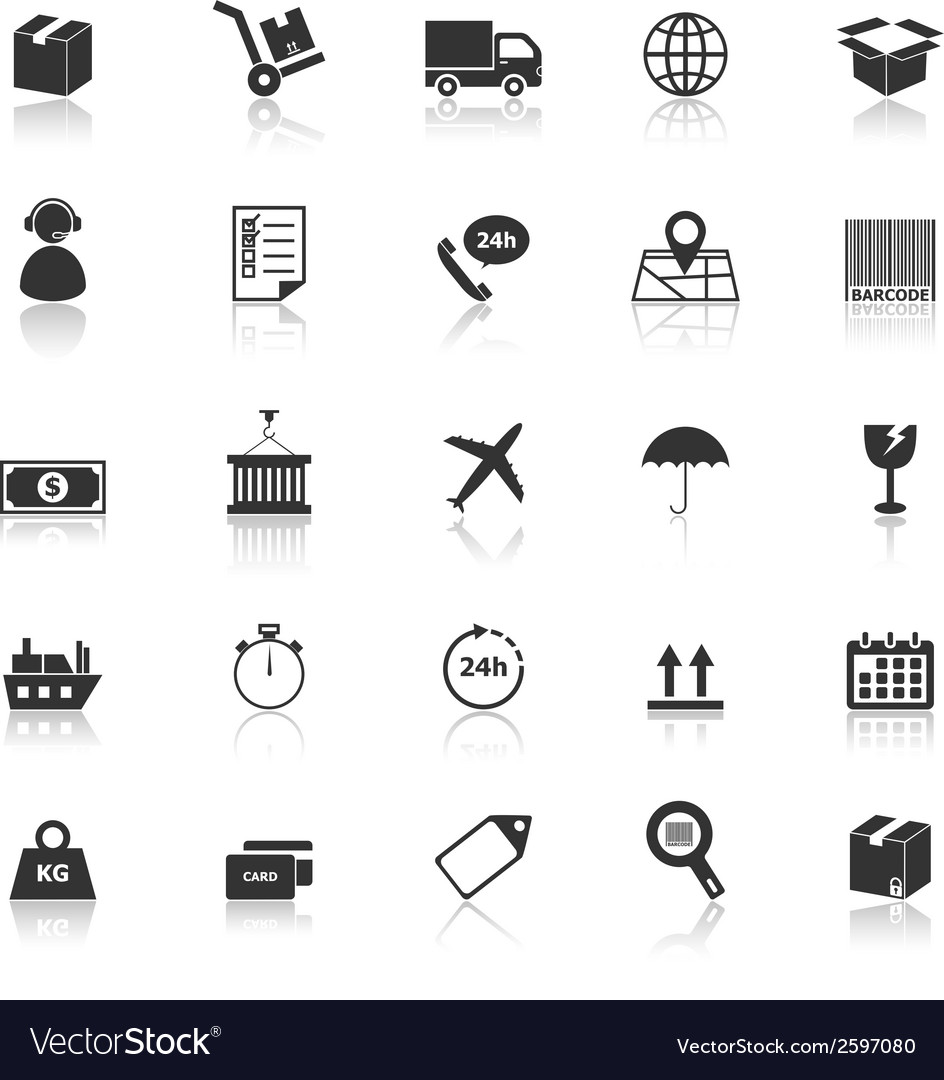 Logistics icons with reflect on white background vector | Price: 1 Credit (USD $1)