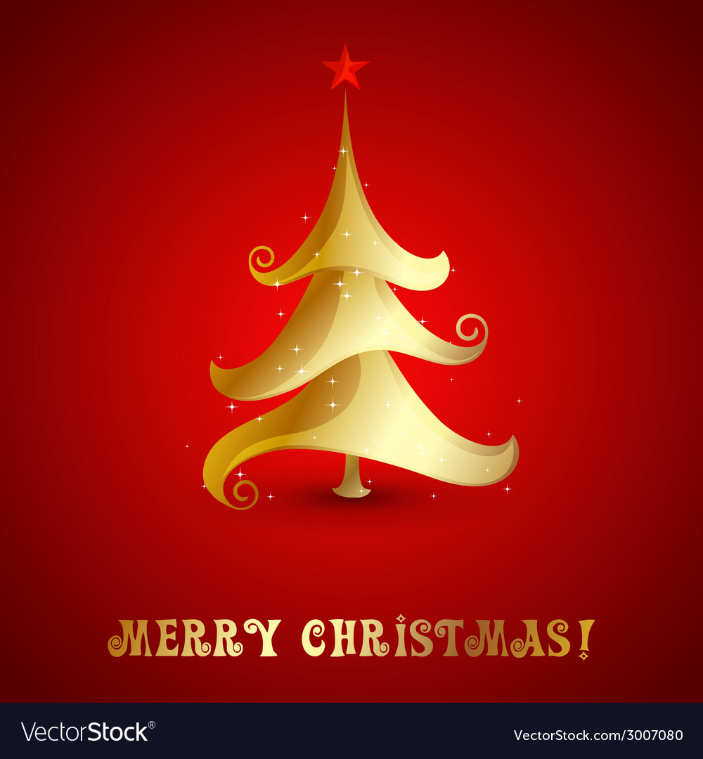 Merry christmas tree background vector | Price: 1 Credit (USD $1)