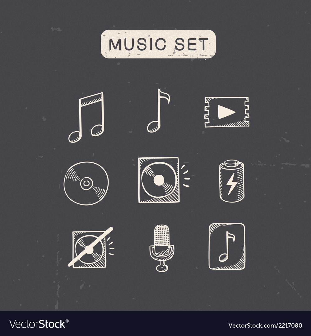 Music media audio symbols set vector | Price: 1 Credit (USD $1)