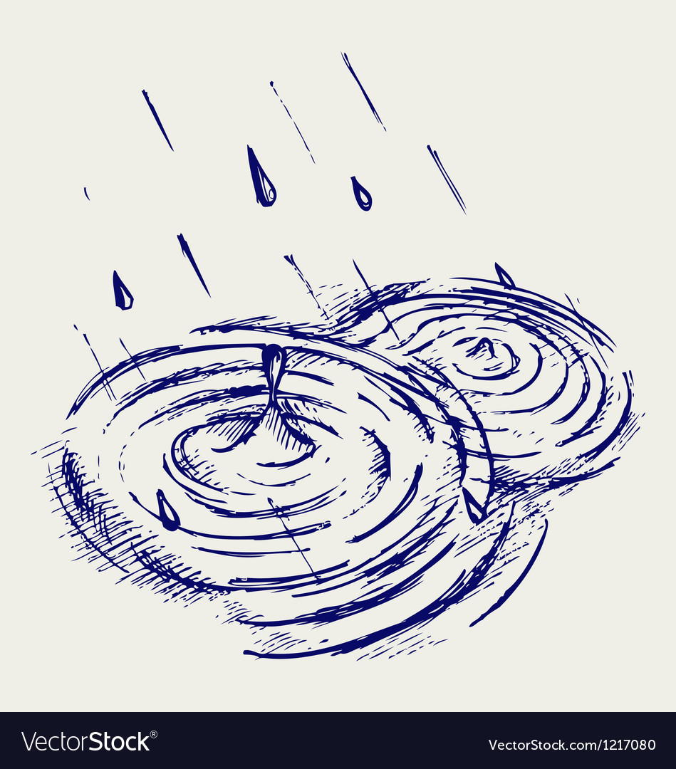 Rain drops rippling in puddle vector | Price: 1 Credit (USD $1)