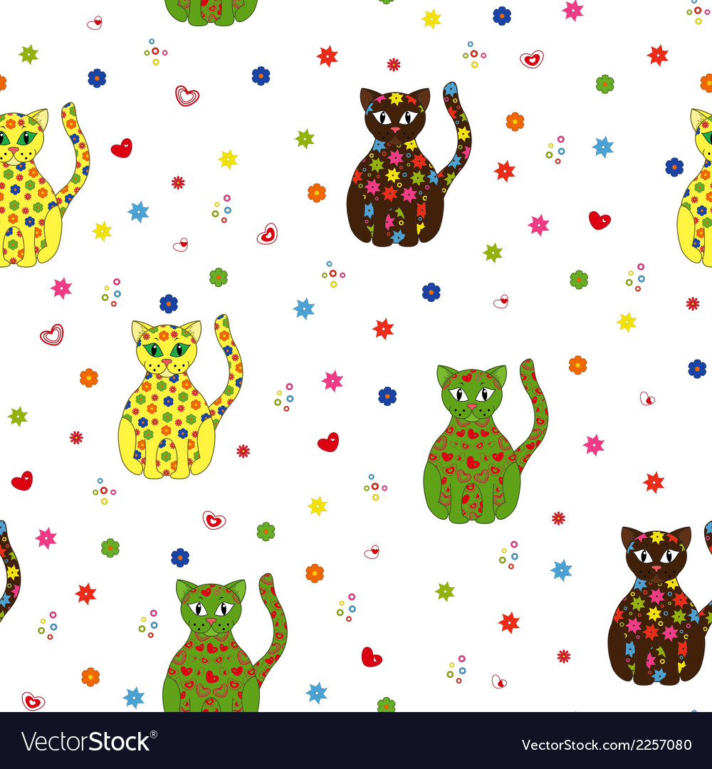 Seamless with different stylized cats vector | Price: 1 Credit (USD $1)