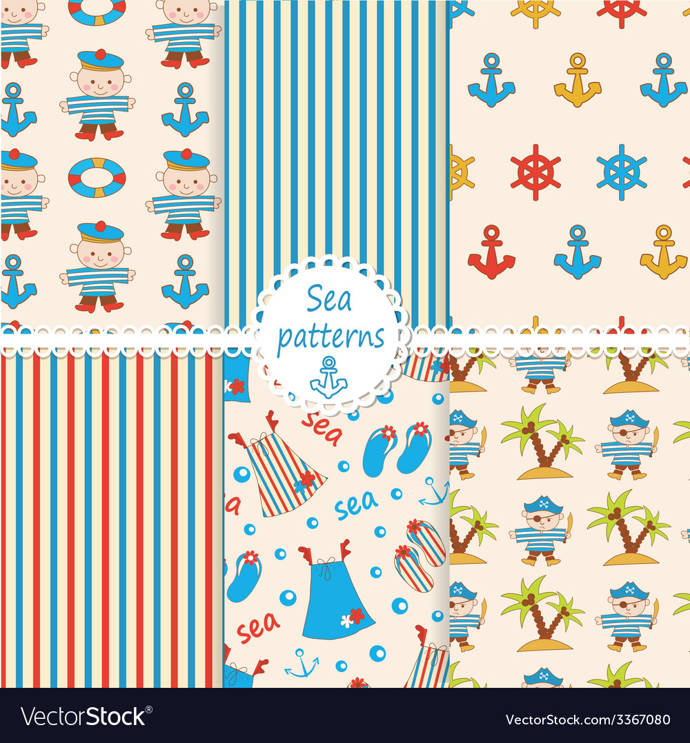 Set of sea patterns vector | Price: 1 Credit (USD $1)