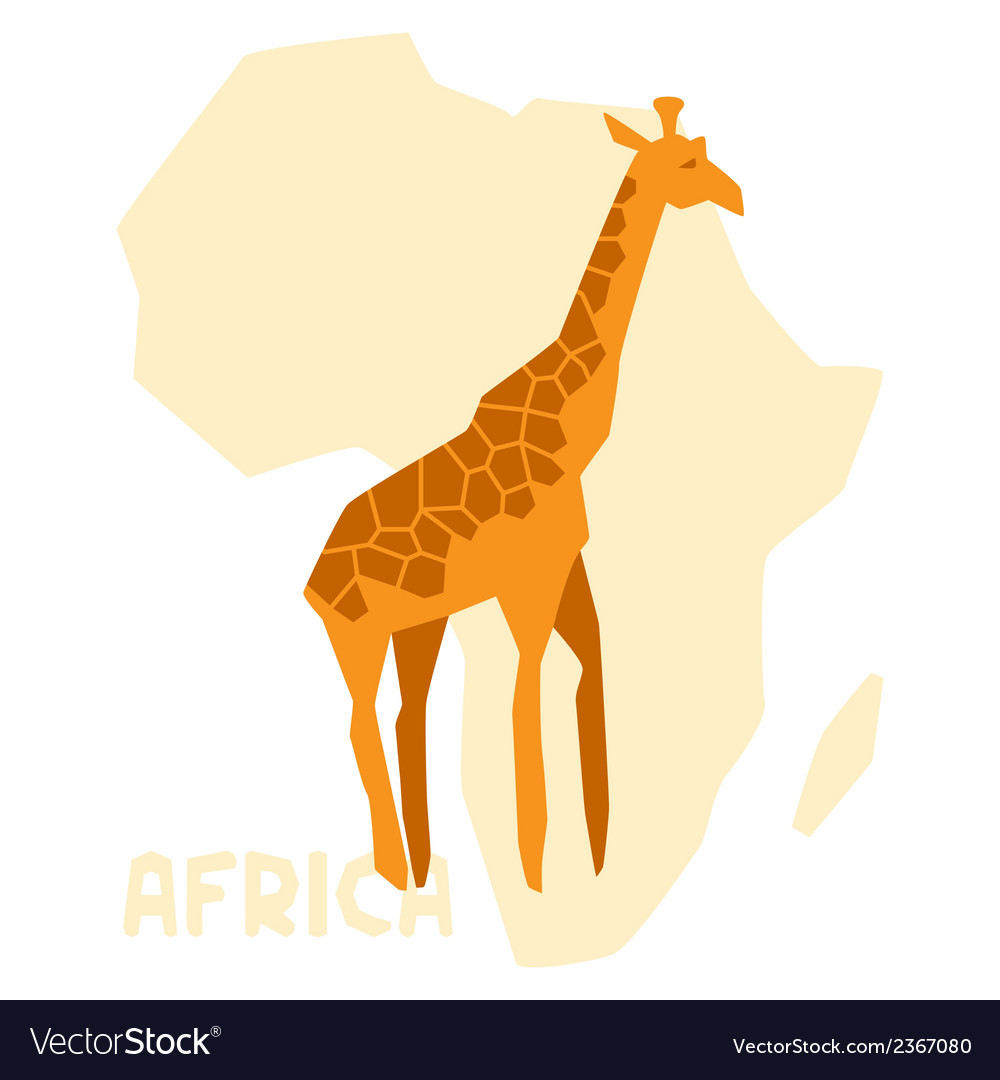 Simple of giraffe on background africa map vector | Price: 1 Credit (USD $1)