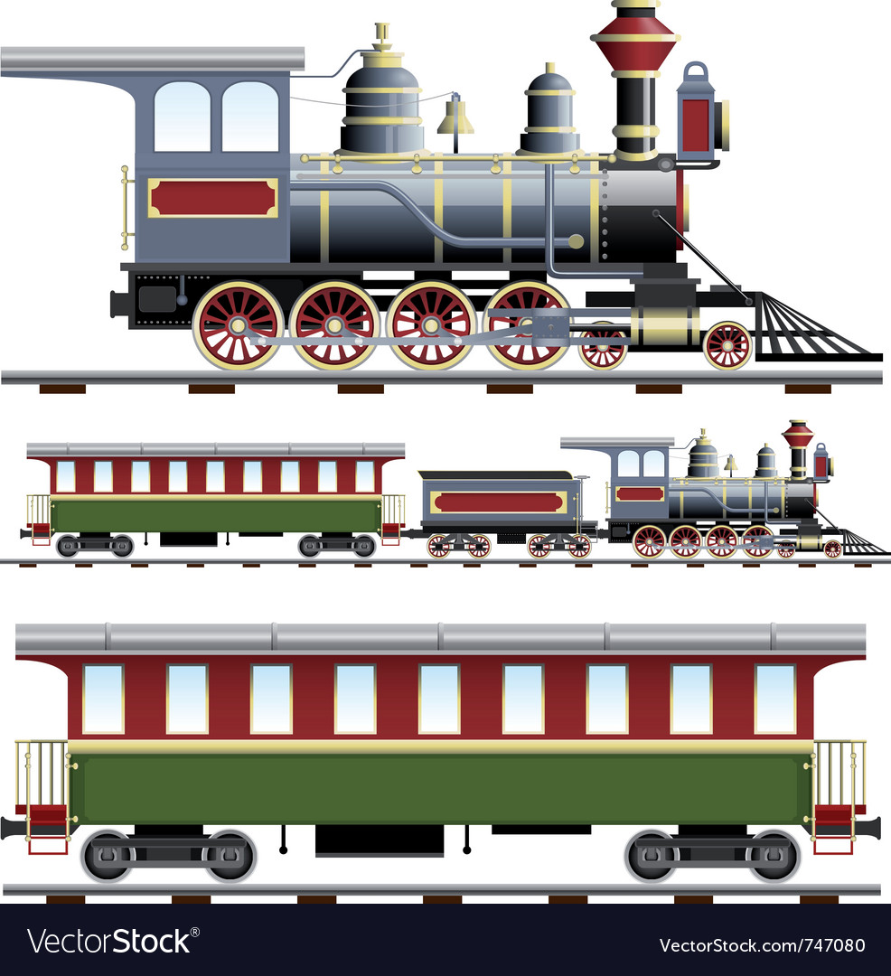 Steam train with coach vector | Price: 3 Credit (USD $3)