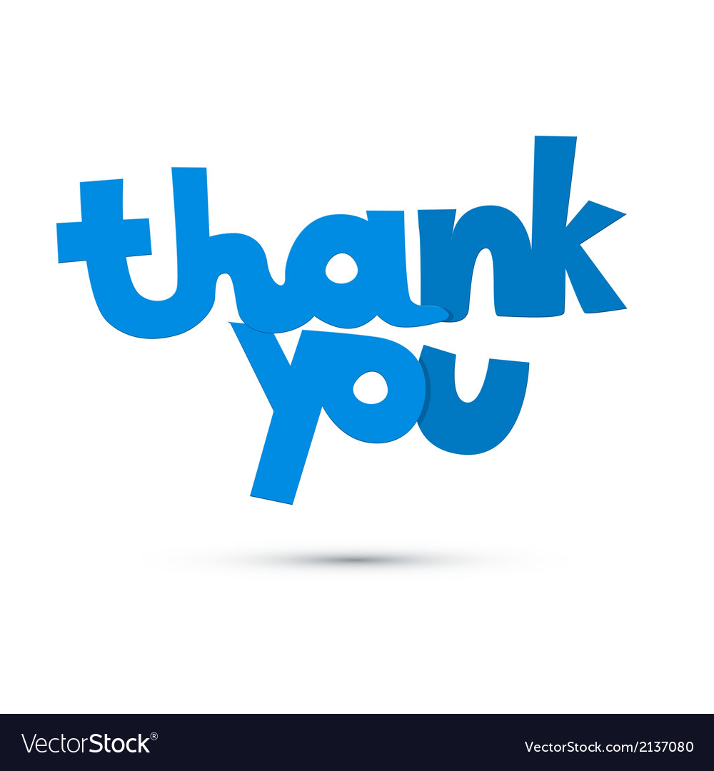 Thank you blue title isolated on white background vector | Price: 1 Credit (USD $1)