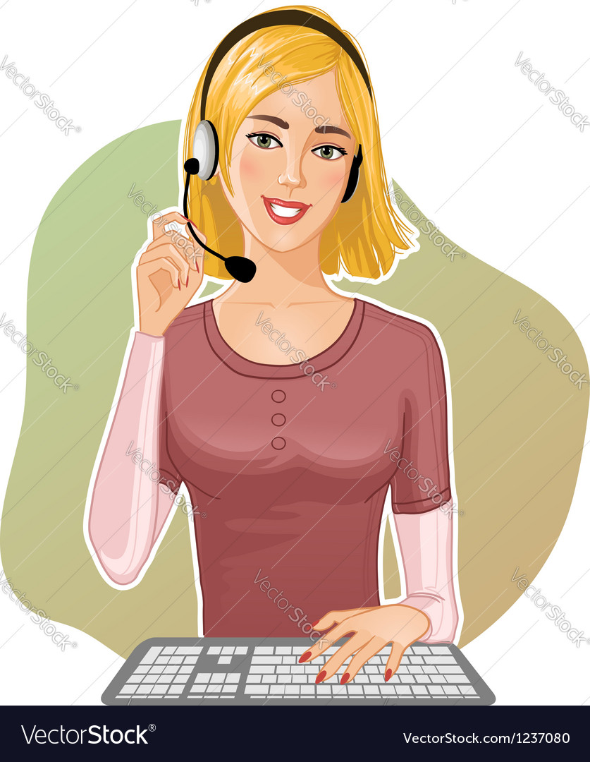 Young girl a call operator vector   Price: 3 Credit (USD $3)