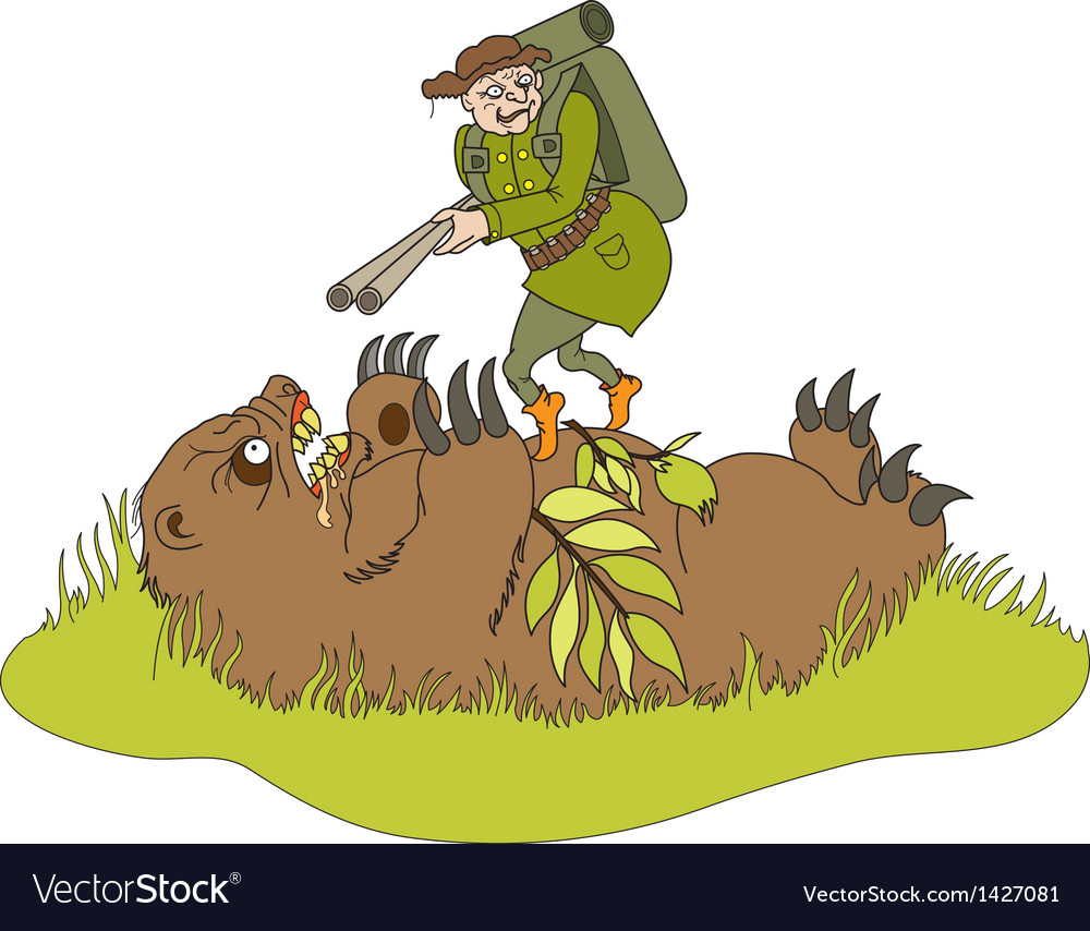 The bear doing an ambush on hunter vector | Price: 3 Credit (USD $3)