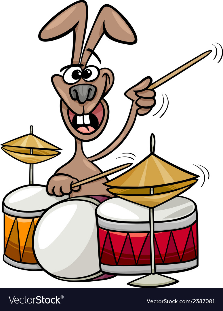 Bunny playing drums cartoon vector | Price: 1 Credit (USD $1)