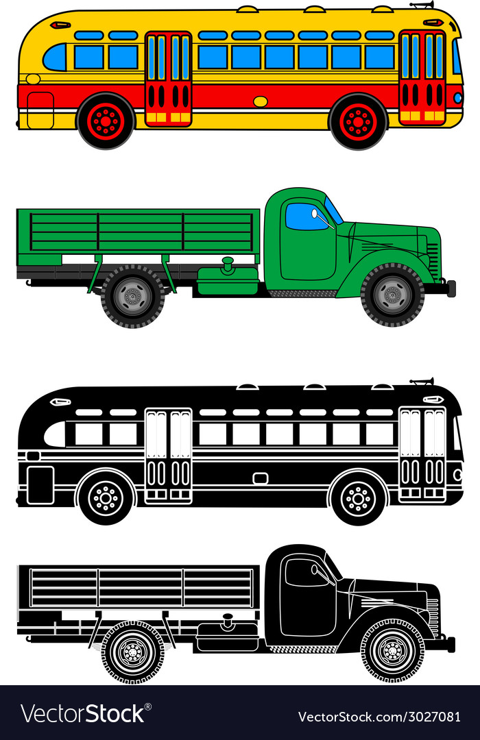 Bus and truck vector | Price: 1 Credit (USD $1)
